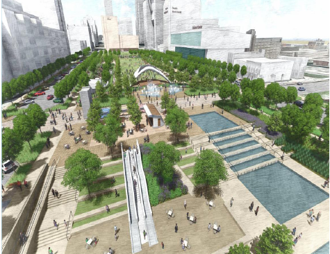 Above is a rendering of what the new downtown will look like after the Riverfront Revitalization project is complete. The project includes keeping the beloved slides and arch, but will  bring in many new sections that Omahans and visitors alike can enjoy.