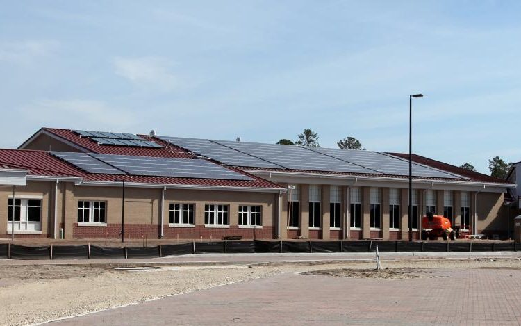 Equipped with over 450 solar panels, Murray Elementary School in Fort Stewart, Ga., uses solar energy and a wind turbine to power the school making it environmentally friendly and cost efficient. The school is 83,000 square feet and accommodates up to 450 students in addition to staff.