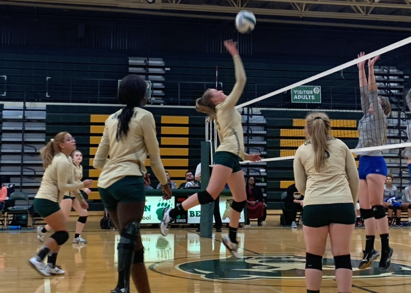 Going+up+for+a+hit%2C+senior+Olivia+Rickley+attacks+the+ball.+The+opposing+team%2C+Omaha+North%2C+recovered+the+ball+and+continued+the+play.