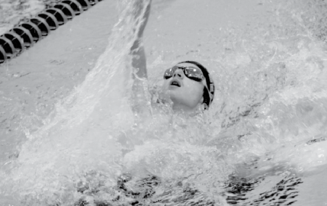 At the varsity swim meet at Omaha South High Magnet on Dec. 5, sophomore Micah Heyen swims the  100 meter backstroke.  Heyen ended up getting disquallifed from the race because he failed to touch the wall.