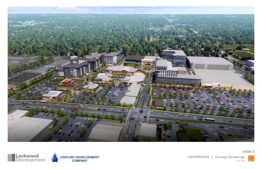 Concept+rendering+of+various+retailers%2C+restaurants%2C+housing%2C+office+spaces+and+a+hotel+at+The+Crossroads+Development+at+72nd+and+Dodge+St.+The+existing+mall+will+be+demolished+later+this+month.